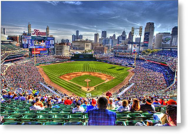Comerica Park Detroit Skyline Greeting Card by A And N Art