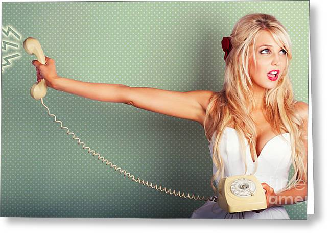 Comic Portrait Of A Blond Pin-up Girl With Phone Greeting Card by Jorgo Photography - Wall Art Gallery
