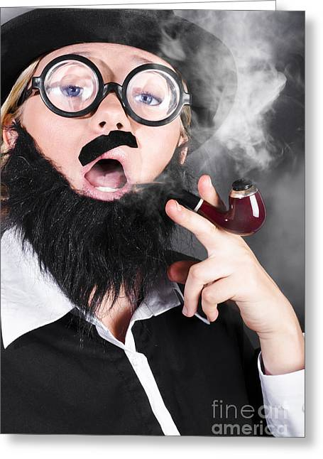 Comic Private Eye Detective Smoking Pipe Greeting Card by Jorgo Photography - Wall Art Gallery