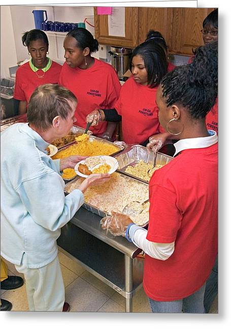 Community Volunteers Serve Food Greeting Card