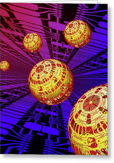 Computer Artwork Of Spheres Covered In Circuits Greeting Card by Mehau Kulyk/science Photo Library