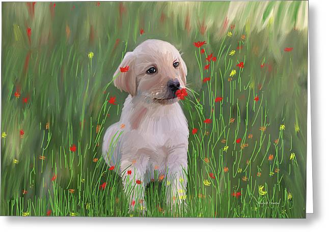 Computer Generated Portrait Of A Dog Greeting Card by Angela A Stanton