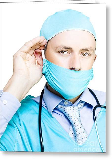 Concerned Doctor Listening To Patient Concerns Greeting Card by Jorgo Photography - Wall Art Gallery