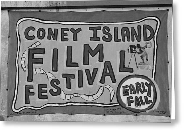 Coney Island Film Fest In Black And White Greeting Card by Rob Hans