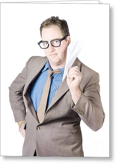 Confident Businessman Holding Paper Airplane Greeting Card