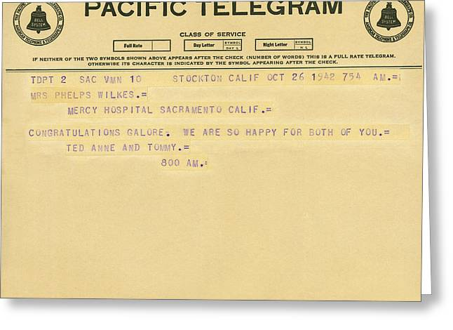 Congratulatory Telegram Greeting Card by Underwood Archives