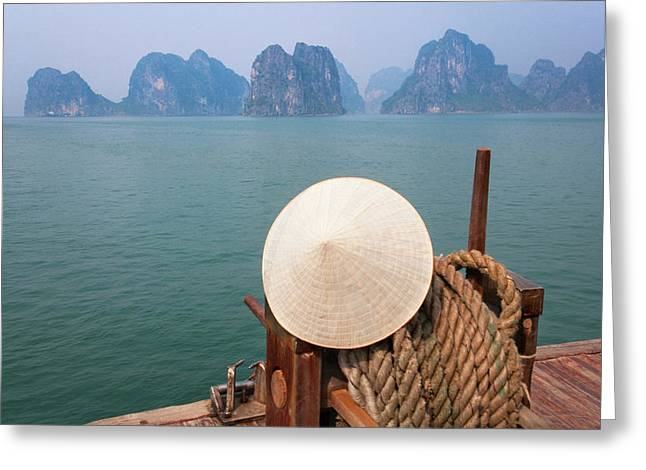 Conical Hat On Junk Boat And Karst Greeting Card by Keren Su