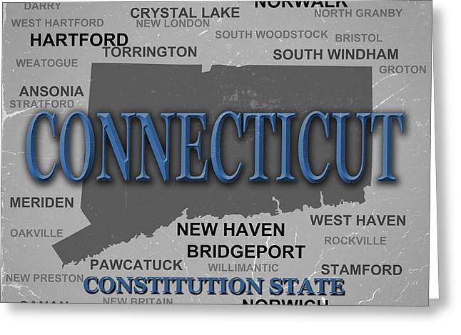 Connecticut State Pride Map Silhouette  Greeting Card by Keith Webber Jr
