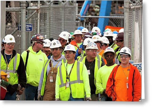Construction Workers Greeting Card by Jim West