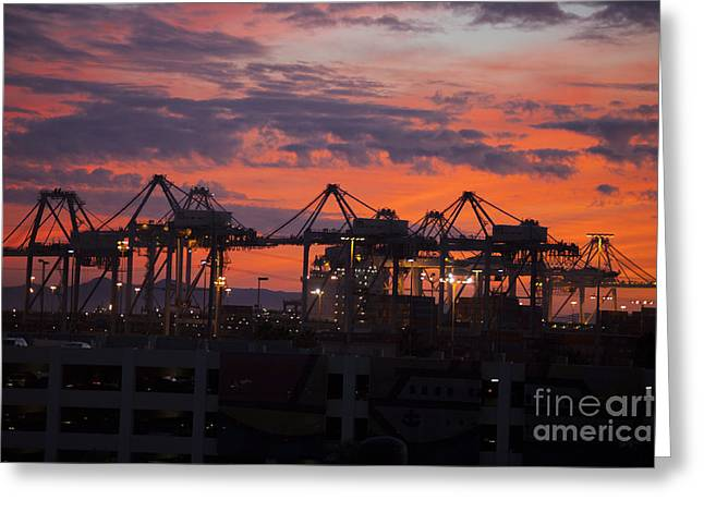 Container Cargo Loading Cranes Greeting Card