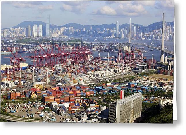 Container Port, Hong Kong Greeting Card by Science Photo Library