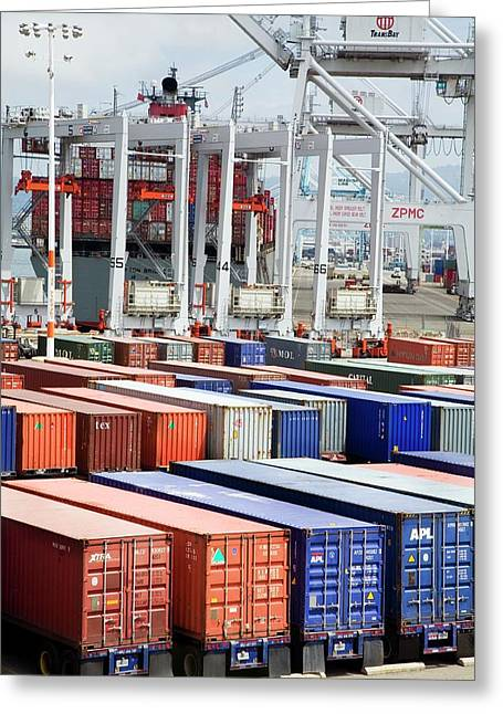 Container Port Greeting Card by Jim West