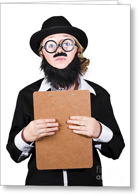 Contemplated Disguised Woman Holding Clipboard Greeting Card by Jorgo Photography - Wall Art Gallery