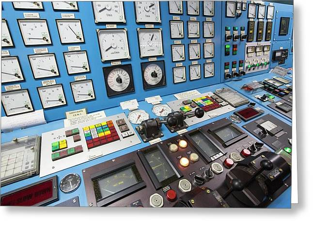 Control Room On Russian Research Vessel Greeting Card by Ashley Cooper