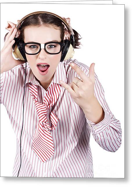 Cool Music Nerd Rocking Out To Metal On Headphones Greeting Card