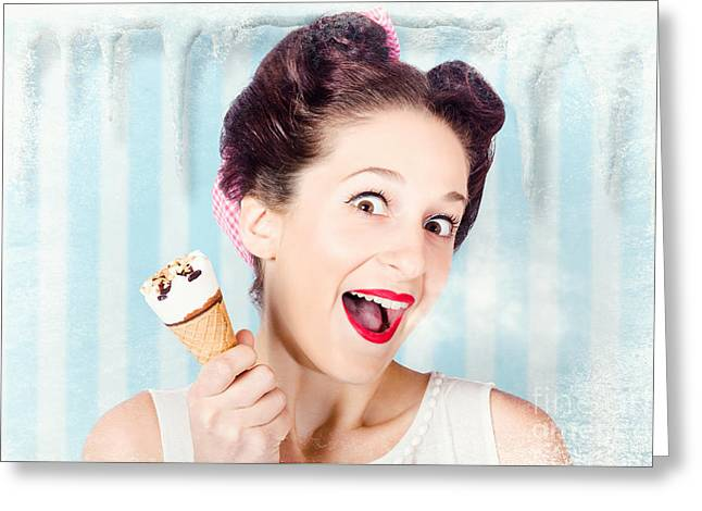 Cool Pin-up Woman In Cold Freezer With Ice-cream Greeting Card by Jorgo Photography - Wall Art Gallery