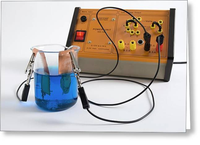 Copper Sulphate Electrolysis Greeting Card by Trevor Clifford Photography
