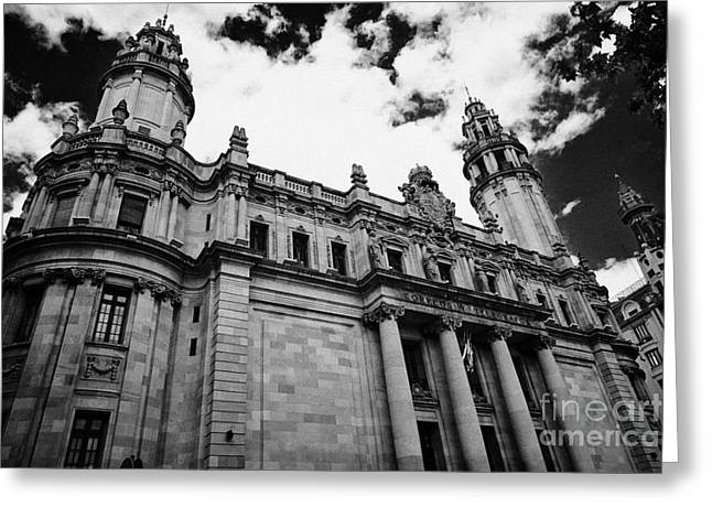 Correos Y Telegrafos Phone And Telegraph Central Post Office Building Barcelona Catalonia Spain Greeting Card by Joe Fox