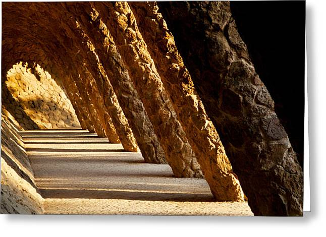 Corridor In A Park, Park Guell Greeting Card by Panoramic Images