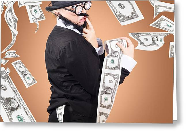 Corrupt Business Man Money Laundering Us Dollars Greeting Card by Jorgo Photography - Wall Art Gallery