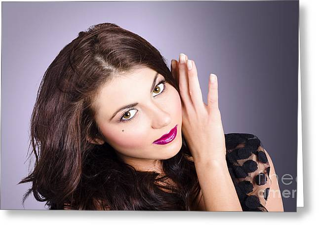 Cosmetic Beauty Portrait. Perfect Makeup Woman Greeting Card