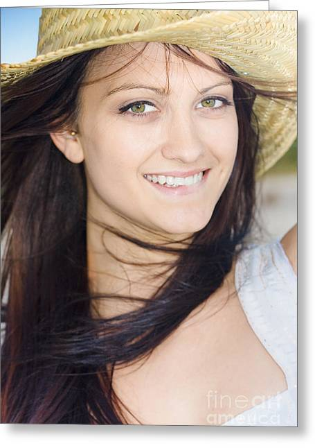 Country Woman In Cowgirl Hat Greeting Card by Jorgo Photography - Wall Art Gallery