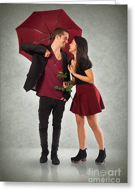 Couple And Umbrella Greeting Card