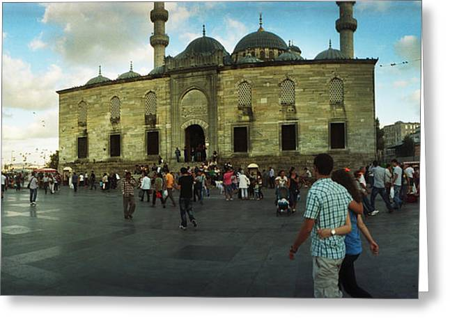 Courtyard In Front Of Yeni Cami Greeting Card by Panoramic Images