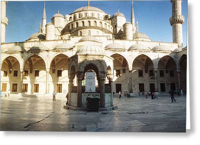 Courtyard Of Blue Mosque In Istanbul Greeting Card by Panoramic Images