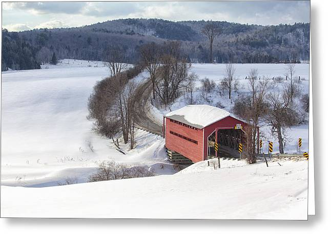 Covered Bridge Greeting Card by Eunice Gibb