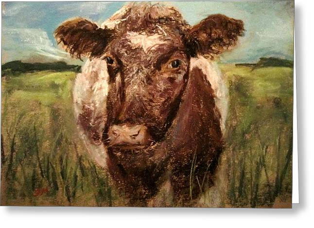 Greeting Card featuring the painting cow by Jieming Wang