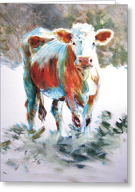 Cow Greeting Card by Mike Jory