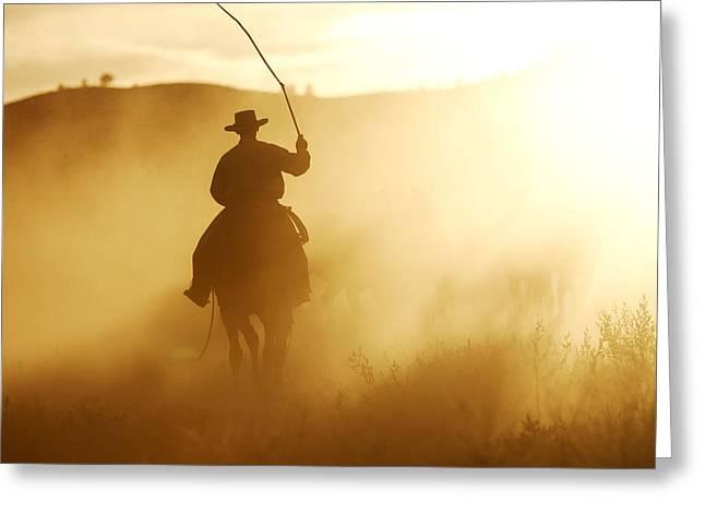 Cowboy At Sunset Greeting Card by M. Watson