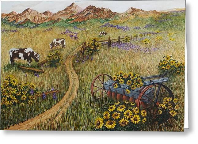 Cows Grazing Greeting Card by Katherine Young-Beck