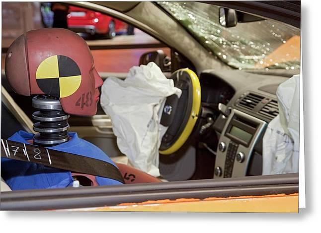 Crash-testing Volvo C30 Electric Car Greeting Card by Jim West