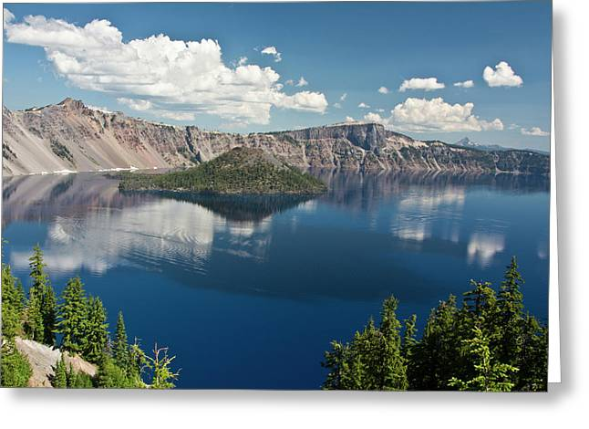 Crater Lake And Wizard Island, Crater Greeting Card