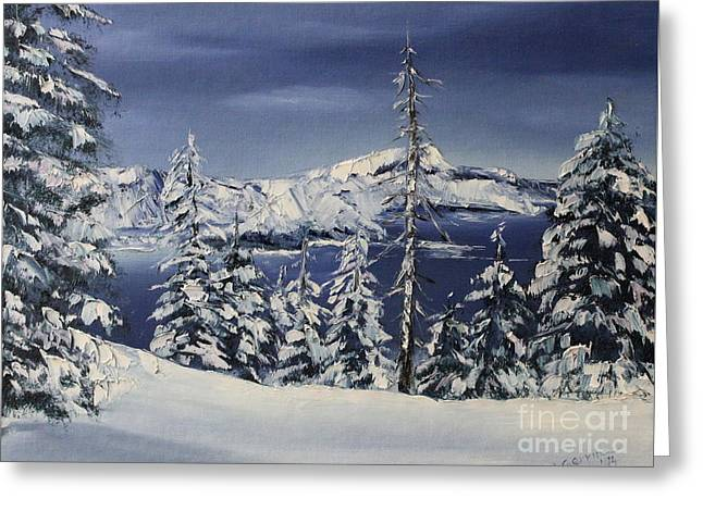 Crater Lake Greeting Card by D L Gerring