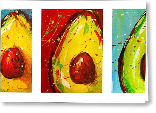 Crazy Avocados Triptych Greeting Card by Patricia Awapara