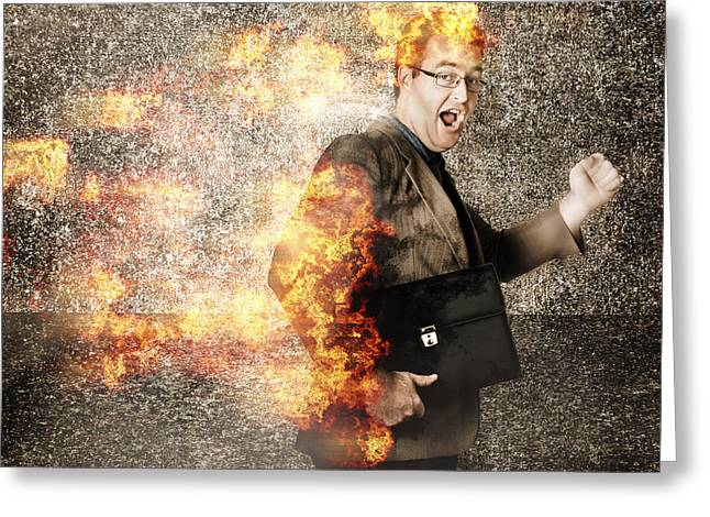 Crazy Businessman Running Engulfed In Fire. Late Greeting Card by Jorgo Photography - Wall Art Gallery