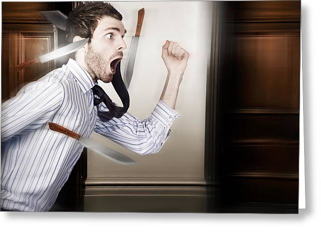 Crazy Businessman Running In Fear From Danger Greeting Card