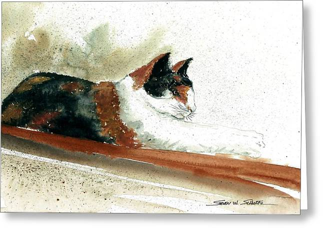 Crazy Cat Greeting Card by Steven Schultz