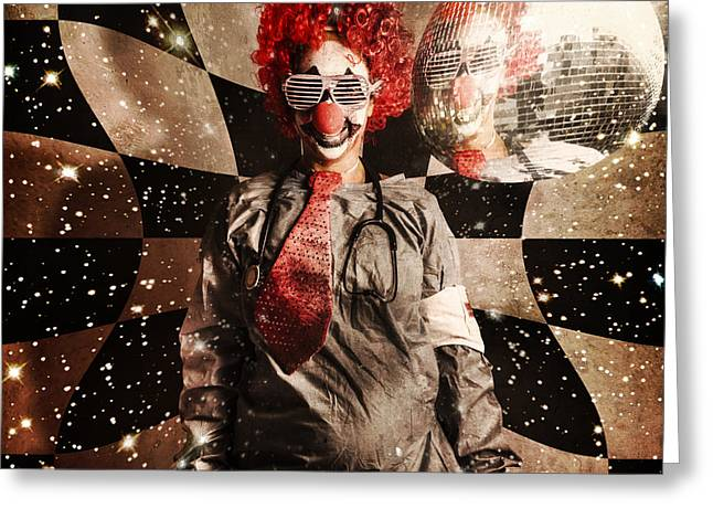 Crazy Dancing Disco Clown On A Psychedelic Trip Greeting Card by Jorgo Photography - Wall Art Gallery