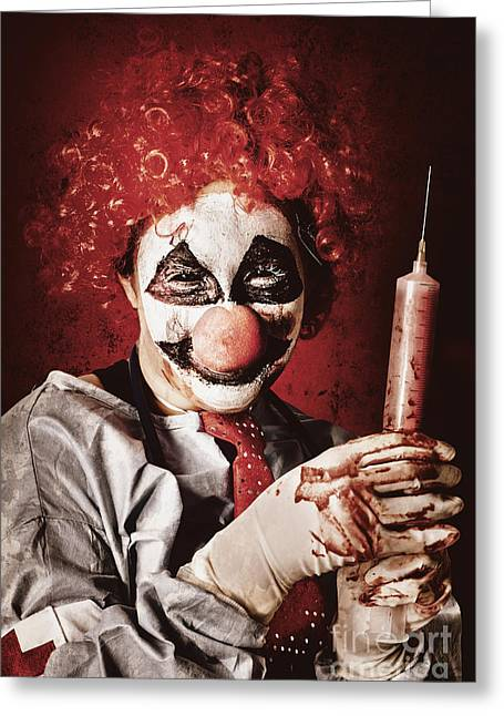 Crazy Medical Clown Holding Oversized Syringe Greeting Card by Jorgo Photography - Wall Art Gallery