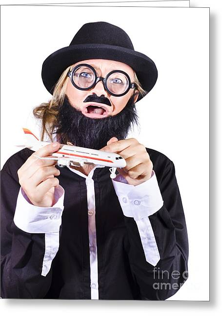 Crazy Terrorist Hijacking Passenger Jet Plane Greeting Card by Jorgo Photography - Wall Art Gallery