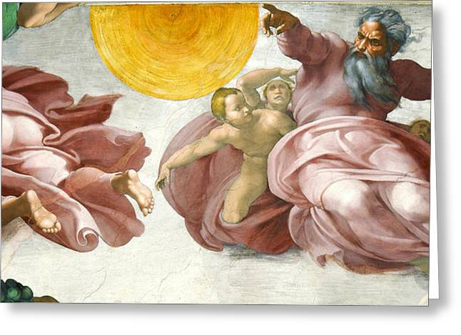 Creation Of Sun Moon And Planets Within The Sistine Chapel Ceiling Greeting Card by Michelangelo di Lodovico Buonarroti Simoni