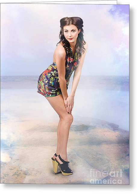 Creative Summer Fashion. Woman In Floral Dress Greeting Card by Jorgo Photography - Wall Art Gallery