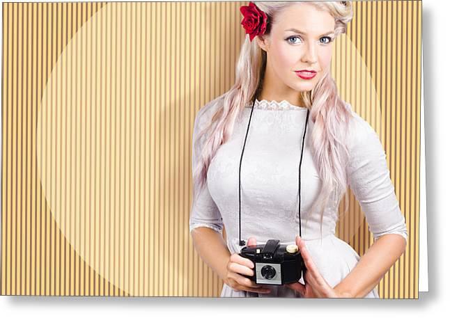 Creative Vintage Woman Holding Retro Camera Greeting Card