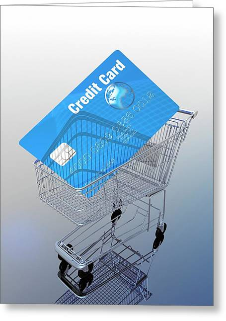 Credit Card And Trolley Greeting Card by Victor Habbick Visions