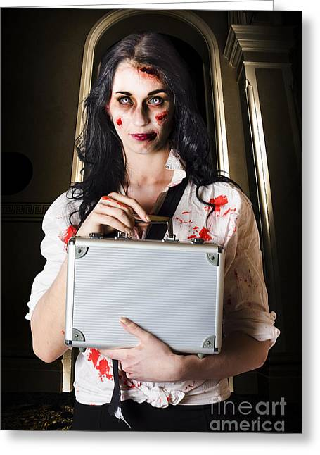 Creepy Late Businesswoman Dissolving Dead Business Greeting Card by Jorgo Photography - Wall Art Gallery