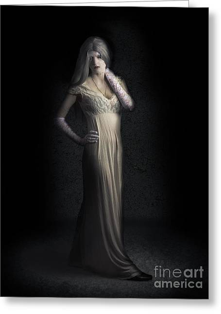 Creepy Vampire Woman With Cracked Skin In Dark Den Greeting Card by Jorgo Photography - Wall Art Gallery